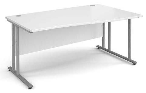 Momento Right Hand Wave Desk White And Silver