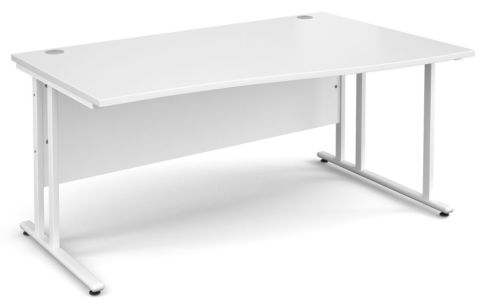 Momento Right Hand Wave Desk White And White
