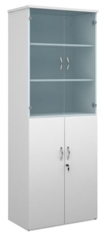 Momento Combination Cupboard With Glass White