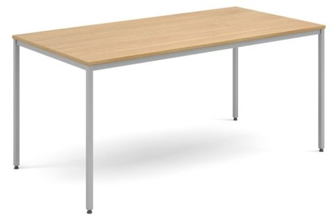 Flexi Rectangular Table Oak And Silver