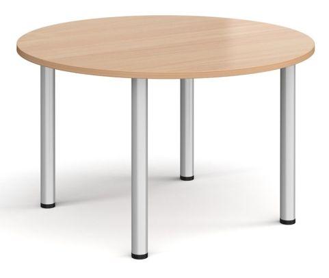 Raste Circular Meeting Table Beech And Silver