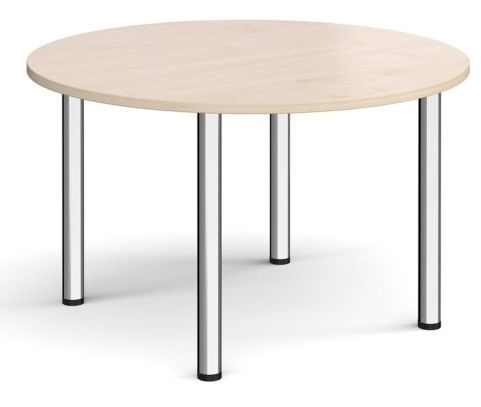 Raste Circular Meeting Table Maple And Chrome