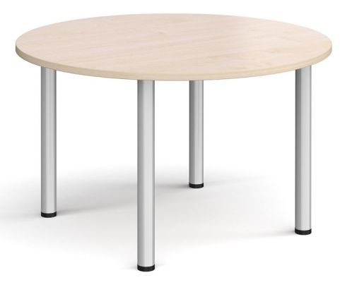 Raste Circular Meeting Table Maple And Silver