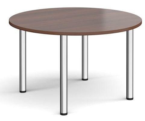 Raste Circular Meeting Table Walnut And Chrome