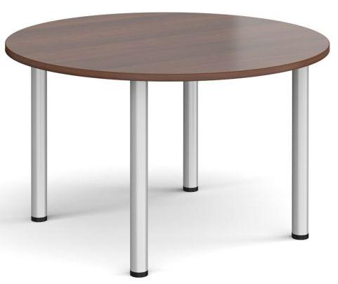 Raste Circular Meeting Table Walnut And Silver