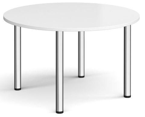 Raste Circular Meeting Table White And Chrome