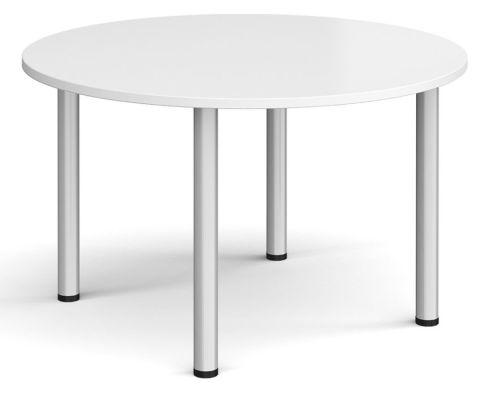 Raste Circular Meeting Table White And Silver