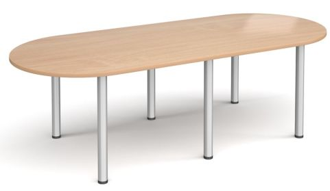 Raste D End Meeting Table Beech And Silver