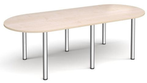 Raste D End Meeting Table Maple And Chrome