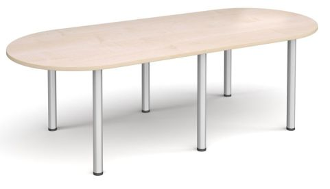 Raste D End Meeting Table Maple And Silver