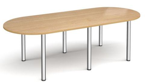Raste D End Meeting Table Oak And Chrome