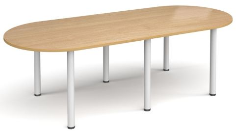 Raste D End Meeting Table Oak And White