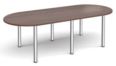 Raste D End Meeting Table Walnut And Chrome