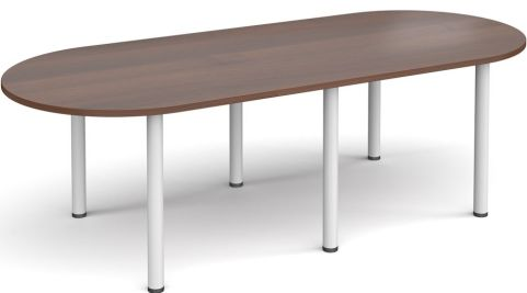 Raste D End Meeting Table Walnut And White
