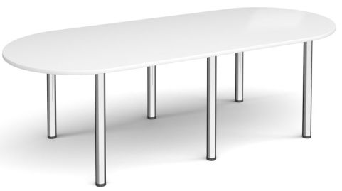 Raste D End Meeting Table White And Chrome