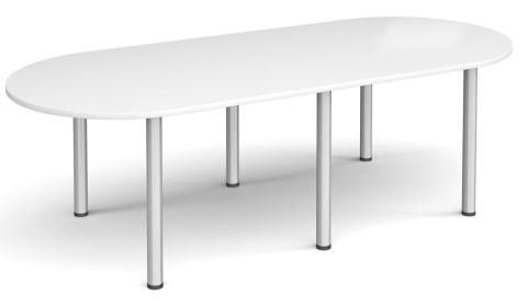 Raste D End Meeting Table White And Silver