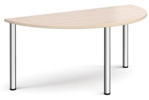 Raste Half Moon Meeting Table Maple And Chrome