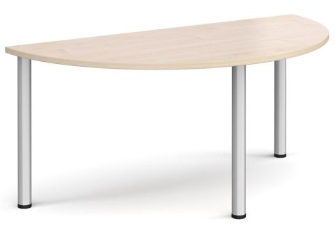 Raste Half Moon Meeting Table Maple And Silver