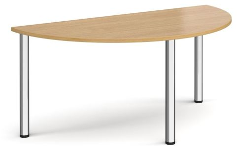 Raste Half Moon Meeting Table Oak And Chrome