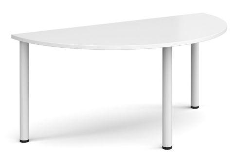 Raste Half Moon Meeting Table White And White