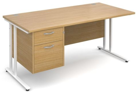 Gm Cantilever Desk Two Drawer Pedestal Oak And White