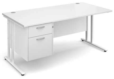 Gm Cantilever Desk Two Drawer Pedestal White And White