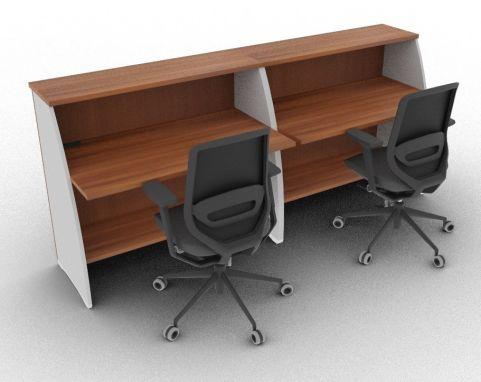 Offimat 1200 High Reception Desk Walnut Rear View
