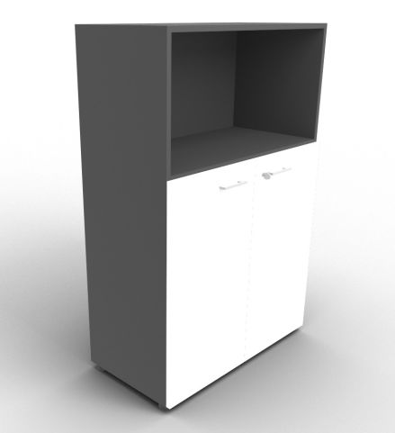 Quad Anthracite And White Bookcase Cabinet