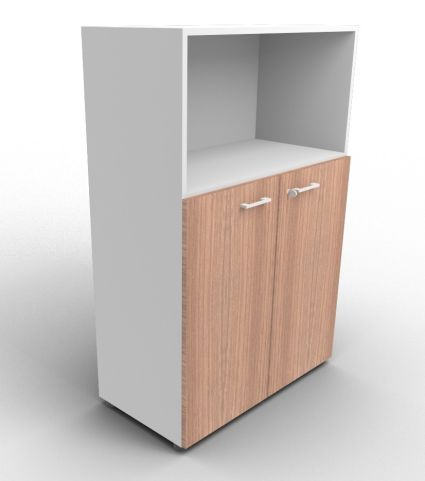 Quad Aluminium And Walnut Bookcase Cabinet