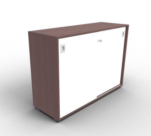 Quad Wenge And White Sliding Door Cabinet