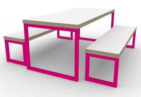 Trizle Bench Dining Set Pink