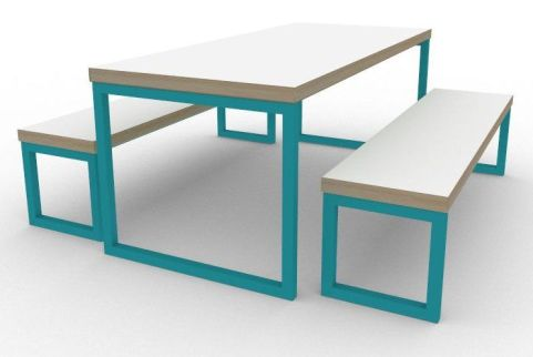 Trizle Bench Dining Set Turquoise