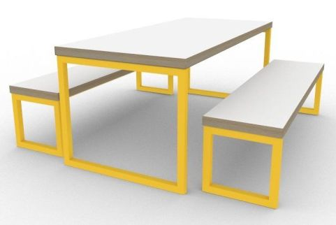 Trizle Bench Dining Set Yellow