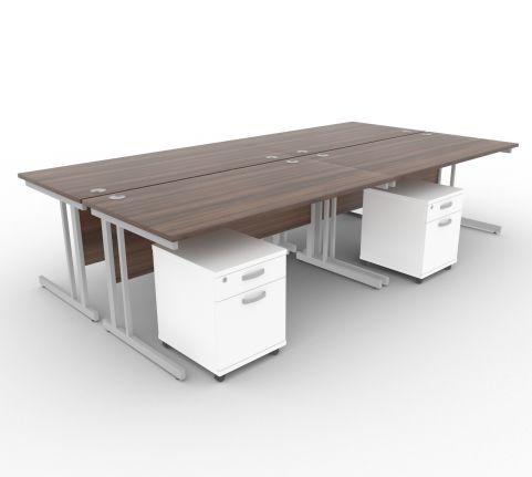 Solar Desk 4 Person Desk With Pedestals Walnut & White