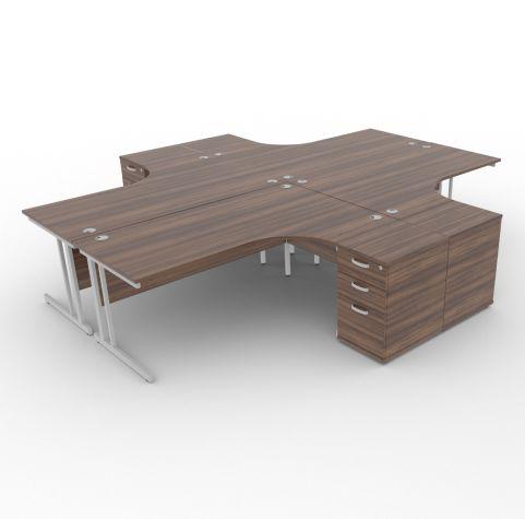 Solar Desk 4 Person Workstation Desk With Pedestals Walnut