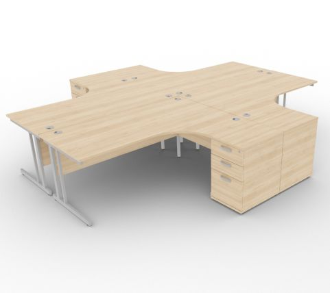 Solar Desk 4 Person Workstation Desk With Pedestals Maple