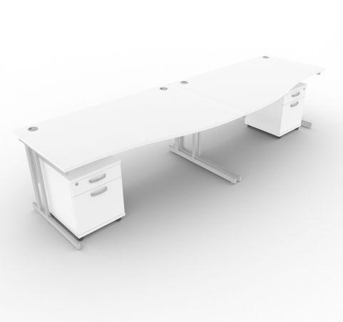 Solar Desk 2 Person Wave Desk With Underdesk Pedestals