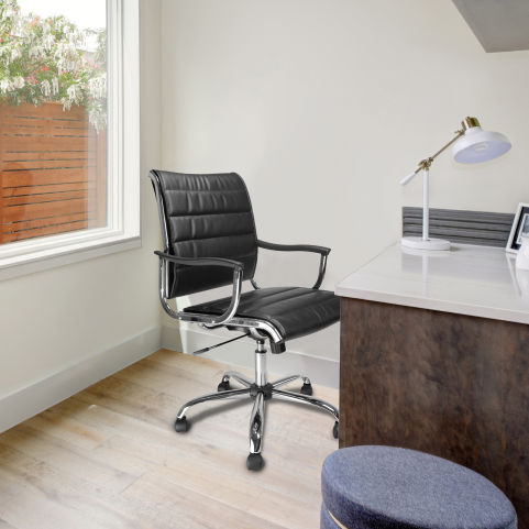 Tranton Designer Leather Seating Black Mood View