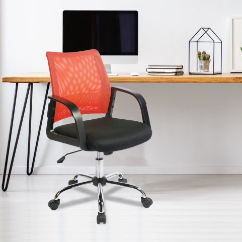 Stylisto Medium Back Mesh Chair Orange Mood View