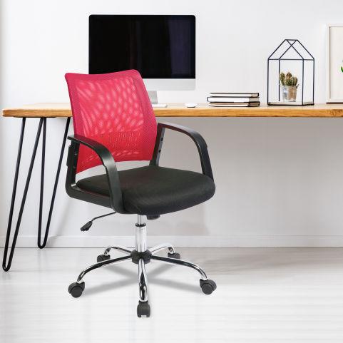 Stylisto Medium Back Mesh Chair Raspberry Mood View