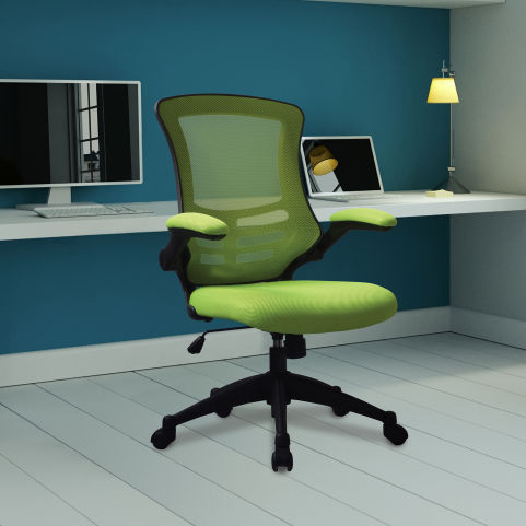Corky Coloured Mesh Chairs Green Mood View