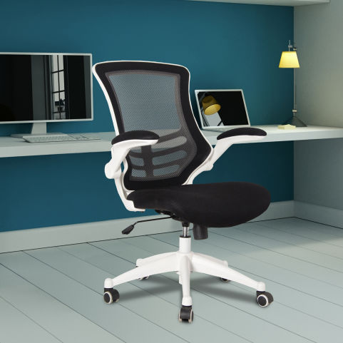 Medway Coloured Mesh Chairs - White Frame - Black Mood View