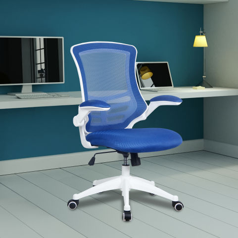 Medway Coloured Mesh Chairs - White Frame - Blue Mood View
