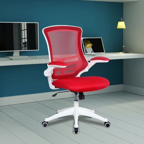 Medway Coloured Mesh Chairs - White Frame - Red Mood View