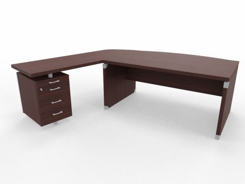 XPT 1800mm Panel Desk Top And Sides Caneletto Walnut Sides Left Hand Side Wenge