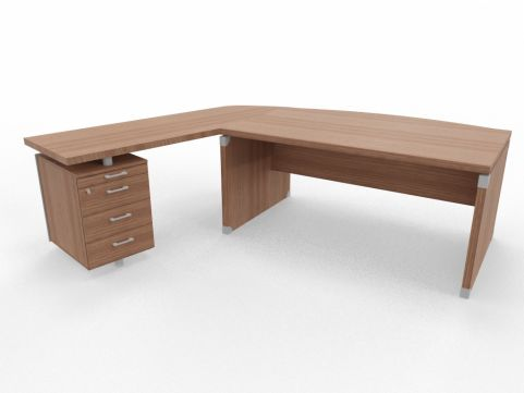 XPT 1800mm Panel Desk Top And Sides Caneletto Walnut Sides Left Hand Side With Drawers