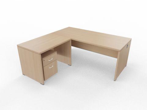 Caba Desk And Return Ubit Free Standing Ligght Oak With Underdesk Pedestal