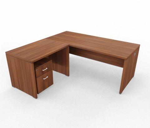 Caba Desk And Return Ubit Free Standing Walnut With Underdesk Pedestal