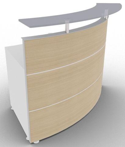 Xtrea Curved Reception Desk Oak And White