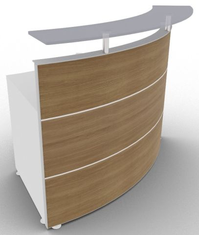 Xtrea Curved Reception Desk Walnut And White